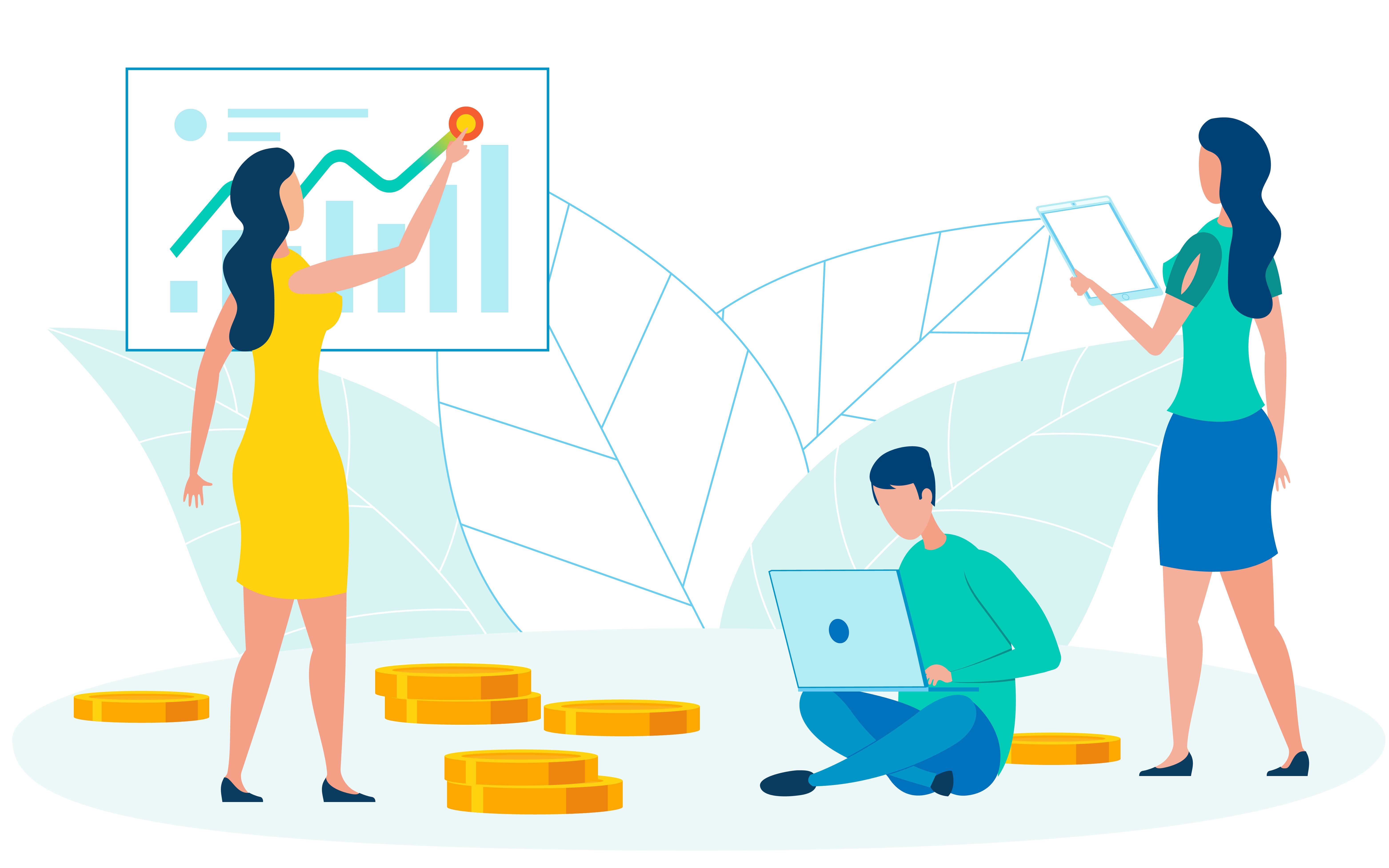 Accountants Cooperation Flat Vector Illustration