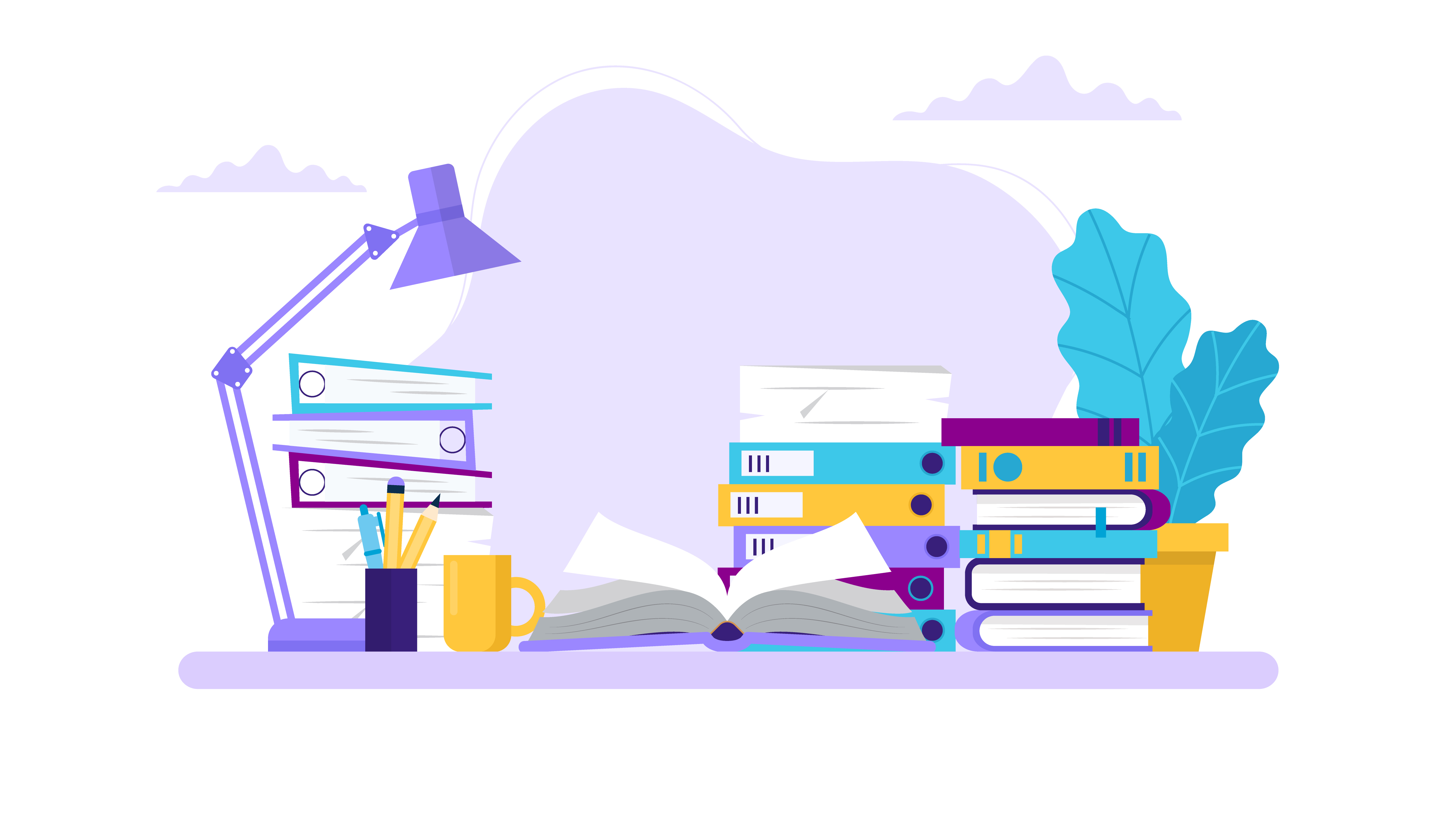 Studying, table with books and different folders. Concept illustration for learning, education, office work, school or university. Vector illustration in flat style